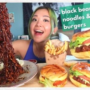 Vegan CHEAT DAY MUKBANG! Truffle Jjajangmyun (Black Bean Noodles) & Burgers / Munching Mondays Ep.89