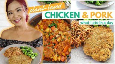 What I Ate in a Day (VEGAN + high protein) / Vegan Schnitzel + Vegan Dakdoritang Recipes